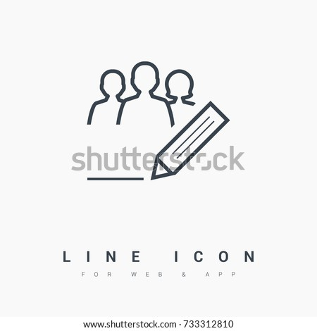 writing team people line vector icon - Shutterstock ID 733312810