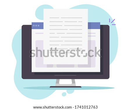 Writing text document content online vector on desktop computer or creating essay or book on pc flat cartoon illustration, copywriting or web text file editing concept, reading blog article idea Foto stock ©