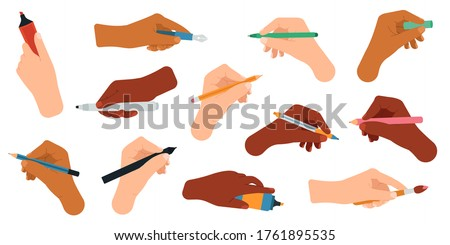 Writing tools in hand. Pen, pencil, stylus, felt-tip pen in arms, writing and drawing tools vector illustration icons set. Pencil and pen, ballpoint and marker in hands