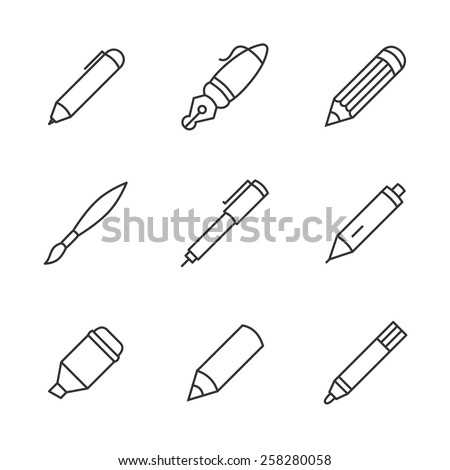 Writing tools. Pencil, pen, fountain pen, brush, marker, crayon, ballpoint thin line vector icons.