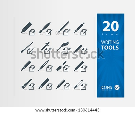 Writing Tools ( Set of 20 Quality icons )