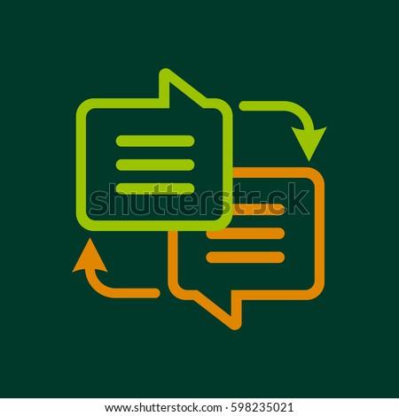 Writing translate icon logo. Line illustration of writing translate or interpret vector icon for web design