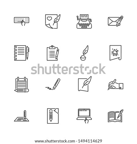 Writing, Write Poetry outline icons set - Black symbol on white background. Writing, Write Poetry Simple Illustration Symbol - lined simplicity Sign. Flat Vector thin line Icon - editable stroke