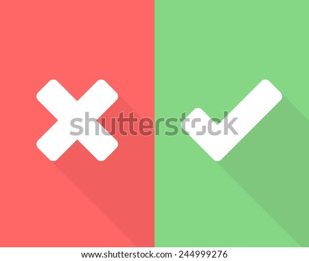 Wrong and right check mark flat icons with long shadow
