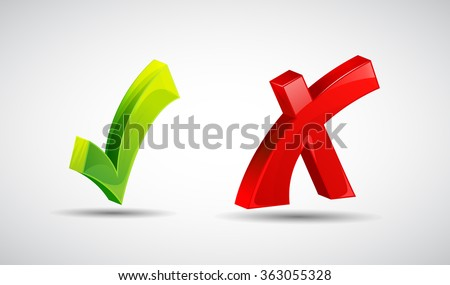 Wrong and right check mark flat icons with long shadow, Yes or not icons