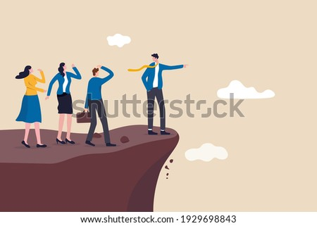 Wrong decision making, stupid authoritarian leader or boss, mistake lead company and employees to sabotage or bad problem concept, stupid boss manager pointing order employees to jump off cliff. ストックフォト ©