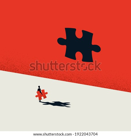 Wrong solution business vector concept. Insufficient size of jigsaw puzzle. Problem challenge. Eps10 illustration. Minimal art.
