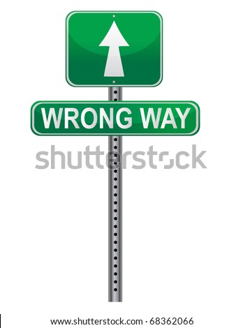 Wrong Way Street sign isolated over a white background.