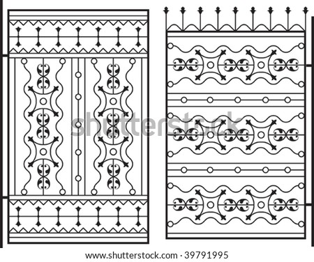 Wrought gate, Iron grill, window design - stock vector