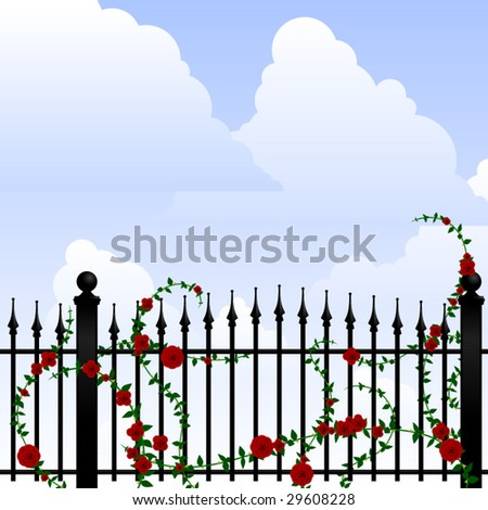 wrought iron fence with roses