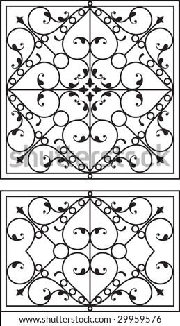 Wrought Iron Fire place grill, wall decor, wall hanging design - stock vector