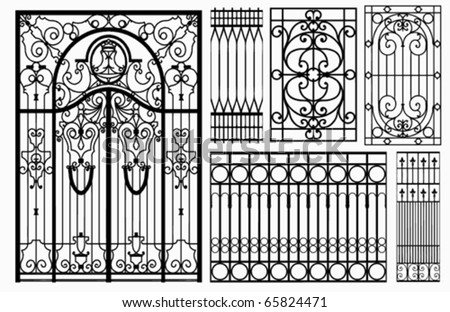 Wrought iron gate and fence. vector