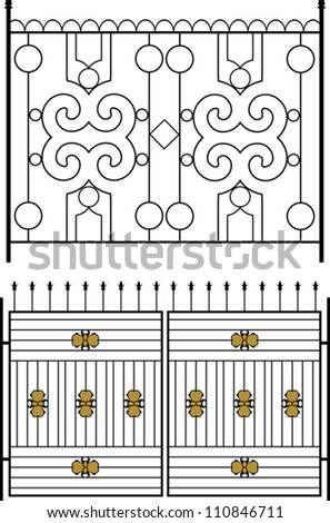 Iron Gate, Door, Fence, Window, Grill, Railing design - stock vector