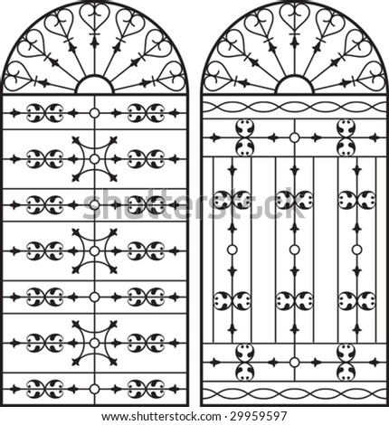 Wrought Iron Gate, Door, Fence, Window, Grill, Railing design - stock