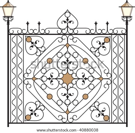 Iron Gate, Door, Fence, Window, Grill, Railing design - stock vector