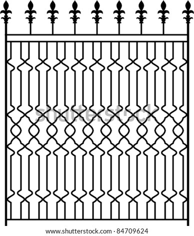 ... Iron Gate, Door, Fence, Window, Grill, Railing design - stock vector