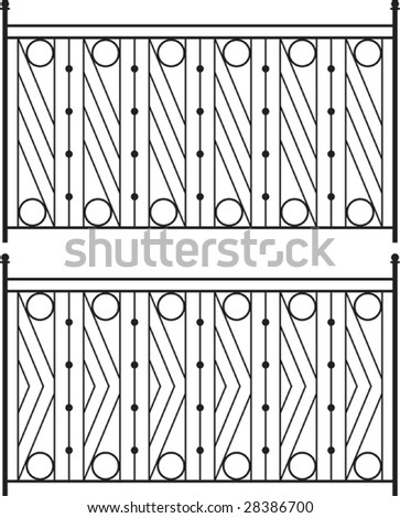 Wrought Iron Gate Fence Window Grill Railing Design Stock Vector