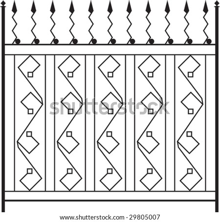 Wrought Iron Gate, Fence, Window, Grill, Railing design - stock vector