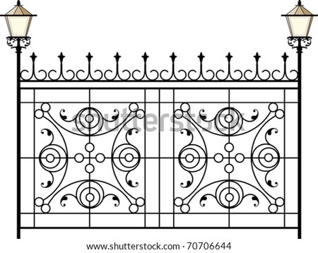 Wrought Iron Gate, Fence with lamp