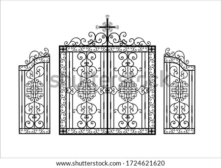 Wrought iron gates for a temple or church. Christian religion pattern. The fence is made of metal. Art hot forging. Vector illustration. stock photo