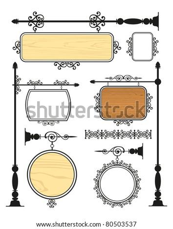 Wrought Iron Signage vector set