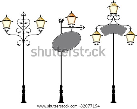 Wrought Iron signage with Lamp