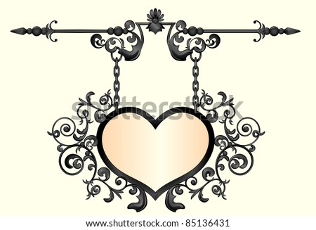 Wrought  iron signboard in shape of heart