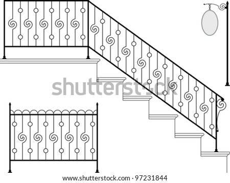Wrought Iron Stairs Gate Picket Signage Stock Vector