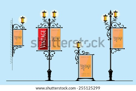 wrought iron street lamps with...
