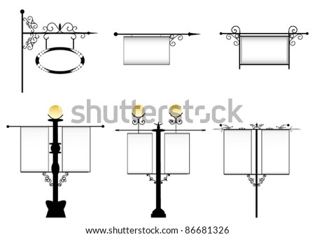 wrought-iron street lamps with a sign for advertising, the vector and vintage signboards