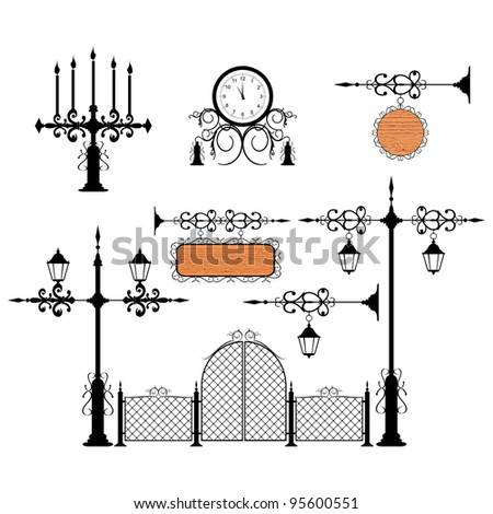 Wrought iron vector set vintage signs and decor elements