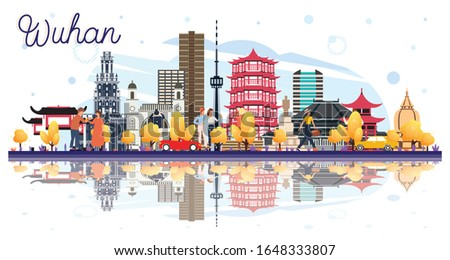 Wuhan China City Skyline with Color Buildings and Reflections Isolated on White. Vector Illustration. Business Travel and Tourism Concept with Modern Architecture. Wuhan Cityscape with Landmarks.