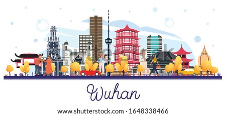 Wuhan China City Skyline with Color Buildings Isolated on White. Vector Illustration. Business Travel and Tourism Concept with Modern Architecture. Wuhan Cityscape with Landmarks.