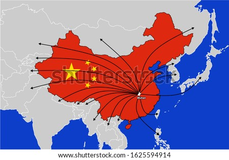 Wuhan city located in China. The City where the Coronavirus outbreak spread in China. Countries where the virus has spread. Coronavirus Map.