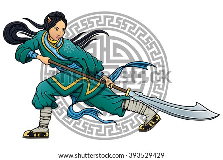 wushu girl with glaive