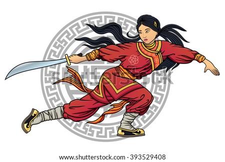 wushu girl with sword
