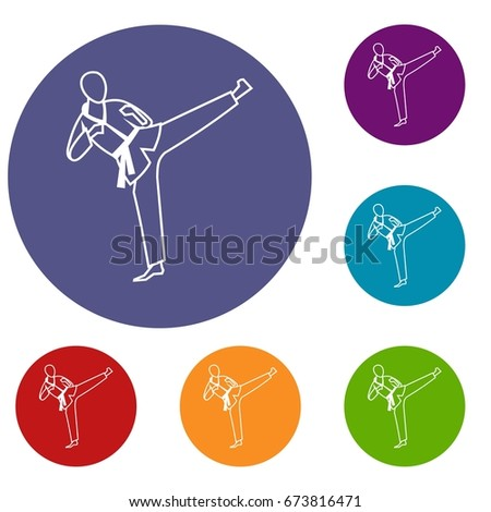Wushu master icons set in flat circle reb, blue and green color for web