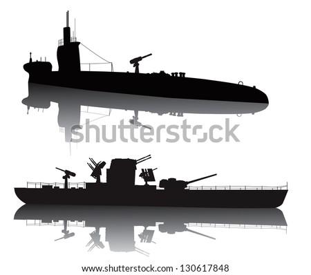 ww2 submarine and military ship