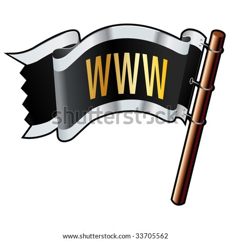 WWW icon on black, silver, and gold vector flag good for use on websites, in print, or on promotional materials