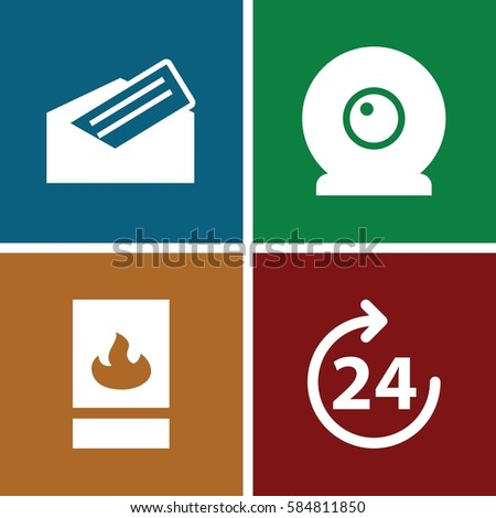 www icons set. Set of 4 www filled icons such as 24 hours, letter, fire protection