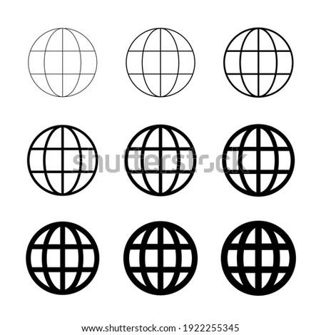 WWW world wide web set site symbol, Internet collection  icon, website address globe, flat outline sign . Foto d'archivio ©