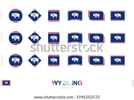 Wyoming flag set, simple flags of Wyoming with three different effects. Vector illustration. ストックフォト ©