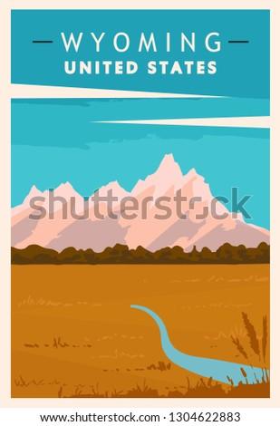 Wyoming retro poster. USA travel illustration. United States of America greeting card. vector illustration.