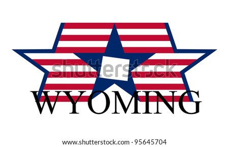 Wyoming state map, flag, and name.