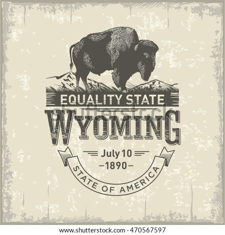 Wyoming, stylized emblem of the state of America, Buffalo, bison, vintage