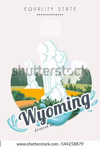 wyoming vector american poster. ...