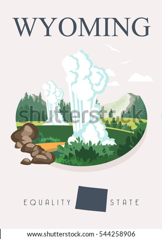 Wyoming vector american poster. USA travel illustration. United States of America colorful greeting card.