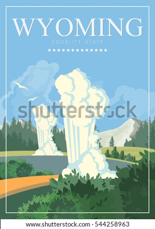 wyoming vector american poster. ...