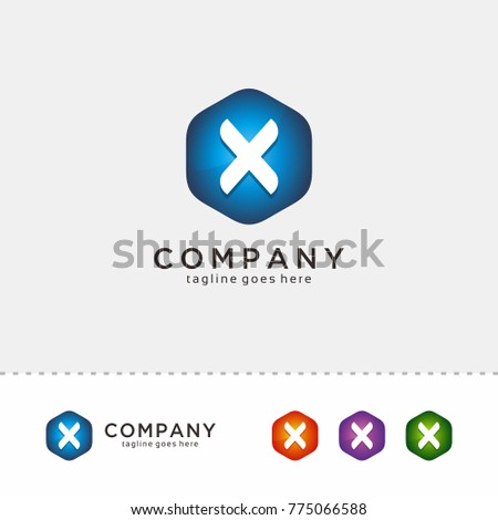x hexagon letter logo design