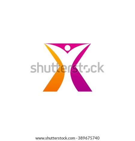 x initial alphabet letter logo